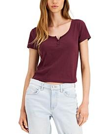 Juniors' Pointelle Henley T-Shirt