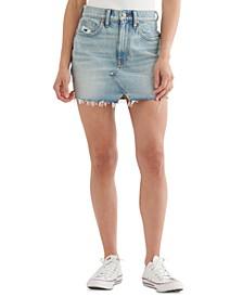 High-Rise Cutoff Jean Skirt