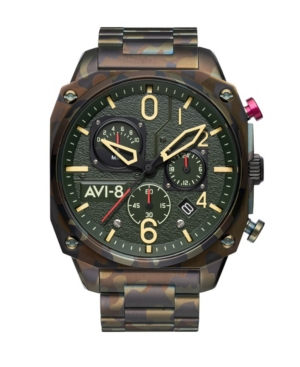 Men's Hawker Hunter Retrograde Chronograph Ground Camo with Green-Tone Solid Stainless Steel Bracelet Watch 45mm