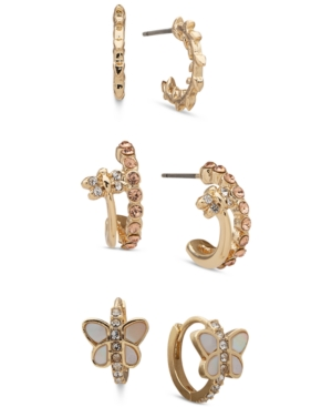 Gold-Tone Critter Trio Earrings
