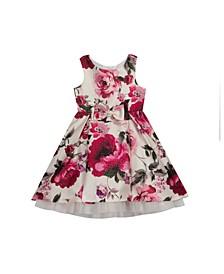 Toddler Girls Floral Printed Hi Low Dress with Mesh Hem