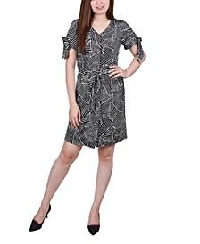 Petite Short Sleeve V-Neck Dress