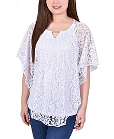 Petite Lace Poncho Top with Matching Tank