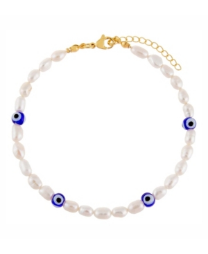Glass Evil Eye Freshwater Pearl Anklet in Silver Tone Mixed Metal