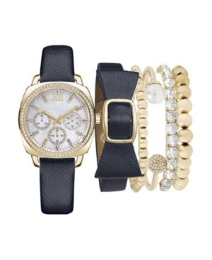 Women's Analog Navy Strap Watch 34mm with Navy and Gold-Tone Bracelets Set