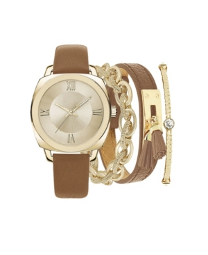 Women's Analog Brown Strap Watch 38mm with Matching Stackable Bracelets Cubic Zirconia Gift Set