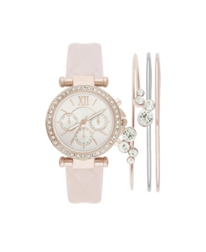 Women's Analog Blush Quilted Strap Watch 36mm with Stackable Cubic Zirconia Crystal Bracelets Gift Set