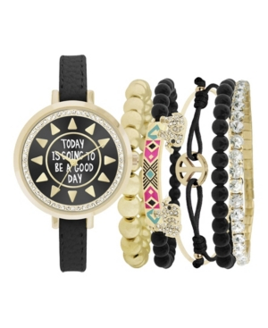 Women's Analog Good Day Strap Watch 34mm with Gold-Tone and Black Beaded Bracelets Set