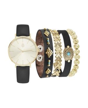 Women's Analog Black Strap Watch 36mm with Black and Gold-Tone Bracelets Set
