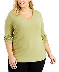 Plus Size Ribbed V-Neck Top, Created for Macy's