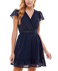 Juniors' Crochet-Trim Fit & Flare Dress