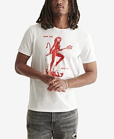 Men's Red & White Graphic T-shirt