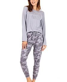 Women's Long Sleeve Hilo Hem Top and Elastic Waistband Jogger Pant Sleepwear Set, 2 Piece