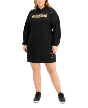 Plus Trendy Distressed Hoodie Dress