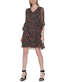 Floral-Print Drop-Waist 3/4-Sleeve Dress
