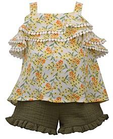 Baby Girls 2 Piece Ruffled Top and Gauze Short Set