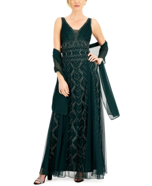 Beaded Gown & Shawl