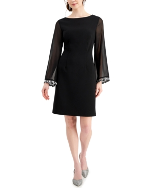 Boat-Neck Sheer-Sleeve Sheath Dress