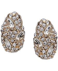 Gold-Tone Pavé Nugget Clip On Earrings
