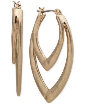 Gold-Tone Double-Row Navette Hoop Earrings