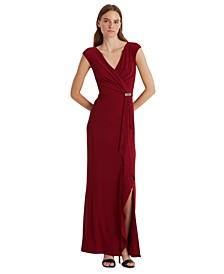 Metallic Cap-Sleeve Gown