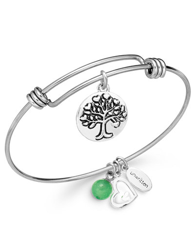unwritten jewelry unwritten family charm and green aventurine 8mm bangle 4279