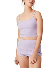 Women's Rib Lace Sleep Camisole