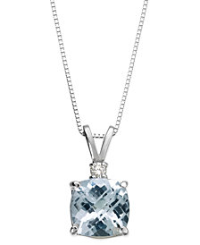 Aquamarine (1-1/3 ct. tw.) and Diamond Accent Pendant Necklace in 14k White Gold