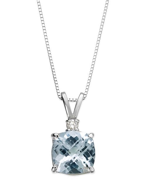 Macy's Aquamarine (1-1/3 ct. tw.) and Diamond Accent Pendant Necklace in 14k White Gold