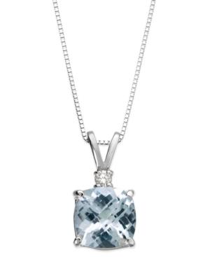 Aquamarine (1-1/3 ct. tw.) and Diamond Accent Pendant Necklace in 14k White Gold