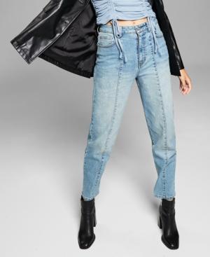 Cotton Front-Seam Jeans
