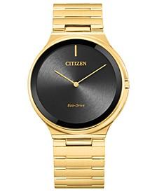 Eco-Drive Unisex Stiletto Gold-Tone Stainless Steel Bracelet Watch 39mm