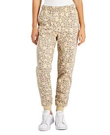 Juniors' Cheetah-Print Fleece Jogger Pants