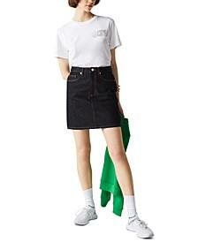 Cotton Denim Mini Skirt