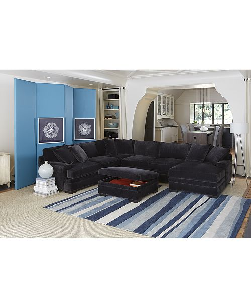Furniture Closeout Teddy Fabric 4 Piece Chaise Sectional