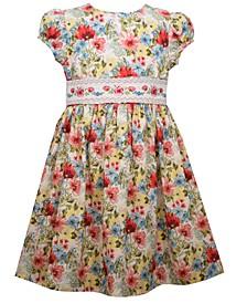 Toddler Girls Short Sleeved Printed Floral Dress
