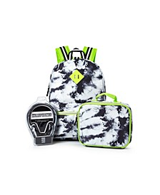 Big Boys Tie Dye Backpack with Headphone and Lunch Box 3 Piece Set