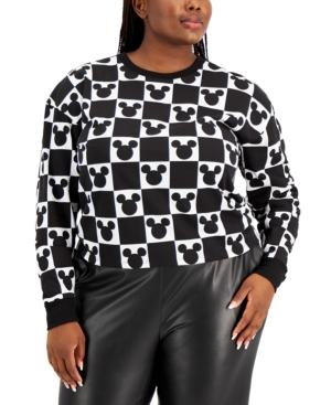 Trendy Plus Size Mickey Checkerboard Top
