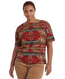 Plus-Size Southwestern-Print Elbow-Sleeve Sweater