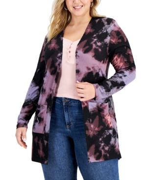 Trendy Plus Size Yummy Printed Cardigan