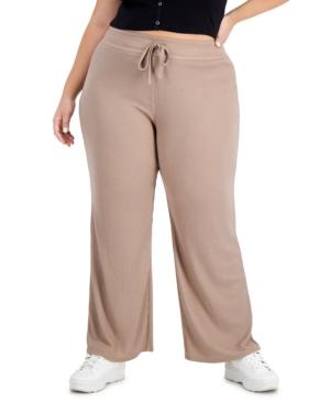 Trendy Plus Size Hacci Wide-Leg Pants