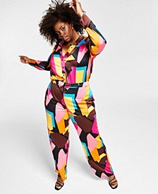 Trendy Plus Size Printed Satin Wide-Leg Pants, Created for Macy's