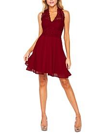 Juniors' Lace Halter Dress