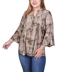 Top Plus Size Pleat Front Y-Neck 3/4 Bell Sleeve