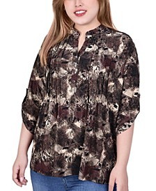 Plus Size 3/4 Roll Tab Sleeve Y-Neck Top