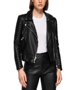 Moto I Faux Leather Quilted Biker Jacket