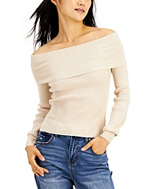 Juniors' Ribbed Off-The-Shoulder Sweater