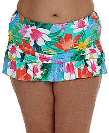 Plus Size Tropical Ruffle Skirted Bikini Bottoms