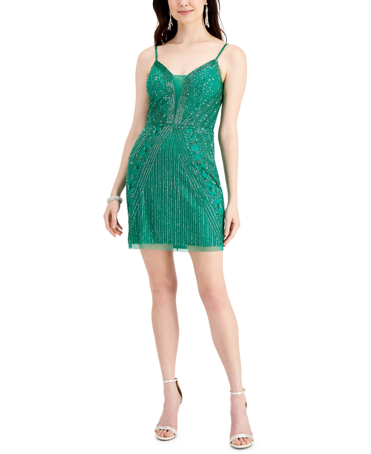 J Kara Sequin Sleeveless Mini Dress