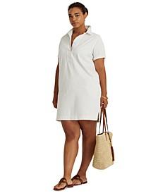 Plus-Size Cotton Twill Shift Dress